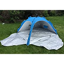 KoolQuest Instant Beach Shelter Sunshade Tent with Single Push/Pull Setup & Packing, 2 Side Zipper Privacy Doors. Silver Coated UPF 50+ with Ropes & Pegs and a handy Carry Bag (Sea Blue)