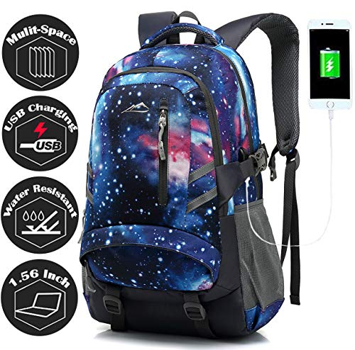 ANTSANG Backpack Bookbag for School Student College Business Travel with USB Charging Port Fit Laptop Up to 15.6 Inch Night Light Reflective Anti Theft (Galaxy)