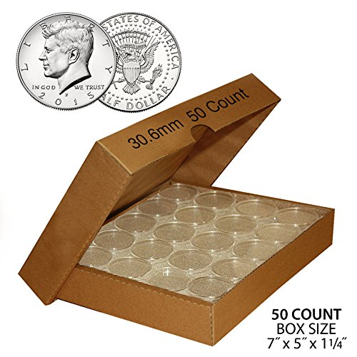 50 JFK HALF DOLLAR Direct-Fit Airtight 30.6mm Coin Capsule Holder QTY: 50 w/BOX (Holders Cases Half Dollars Coin)