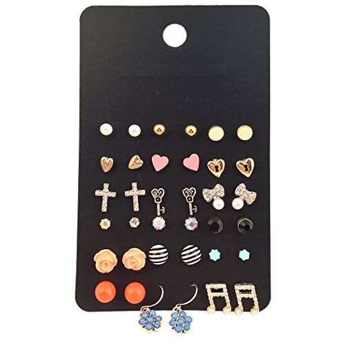 Women Assorted Multiple Gold Plated Studs Earrings Set Mix Rhinestone Bow-knot Ear Studs 18 Pairs