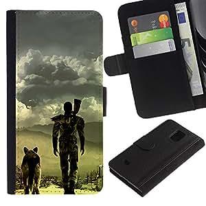 Apocalíptico perro - la tarjeta de Crédito Slots PU Funda de cuero Monedero caso cubierta de piel Para Samsung Galaxy S5 Mini (Not S5), SM-G800