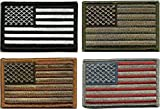 Bundle Tactical USA Flag Patches - Multi-Colored Four American Flag Patches, ...