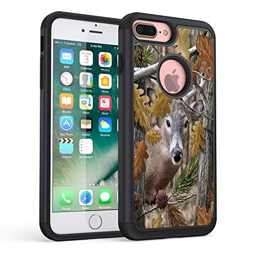 (iPhone 7 Plus Case,iPhone 8 Plus Case,Rossy Heavy Duty Hybrid TPU Plastic Dual Layer Armor Defender Protection Case Cover for Apple iPhone 7 Plus/8 Plus,Forest Deer Hunting)