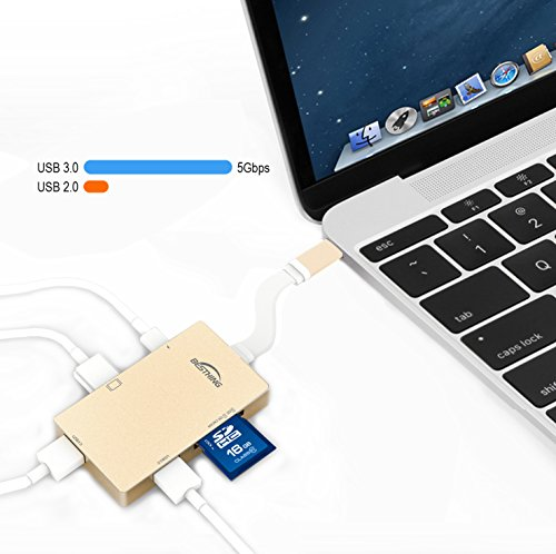 USB-C-Hub-BESTHING-Type-C-Adapter-31-with-Type-C-Charging-Port-HDMI-Output-SD-Micro-SD-Card-Reader-2-USB-30-Ports-for-MacBook-Pro-20152016-and-other-USB-C-Devices-Golden