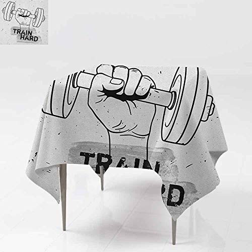 DUCKIL Decorative Textured Fabric Tablecloth Hand Holding a Dumbbell Grunge Sketch Get Strong Train Hard Illustration Table Decoration W50 xL50 Black Silver White