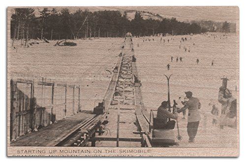 North Conway, New Hampshire - Cranmore Mountain Skimoble - Vintage Photograph (12x18 Wood Wall Sign, Wall Decor Ready to (Water Ski Wood Sign)