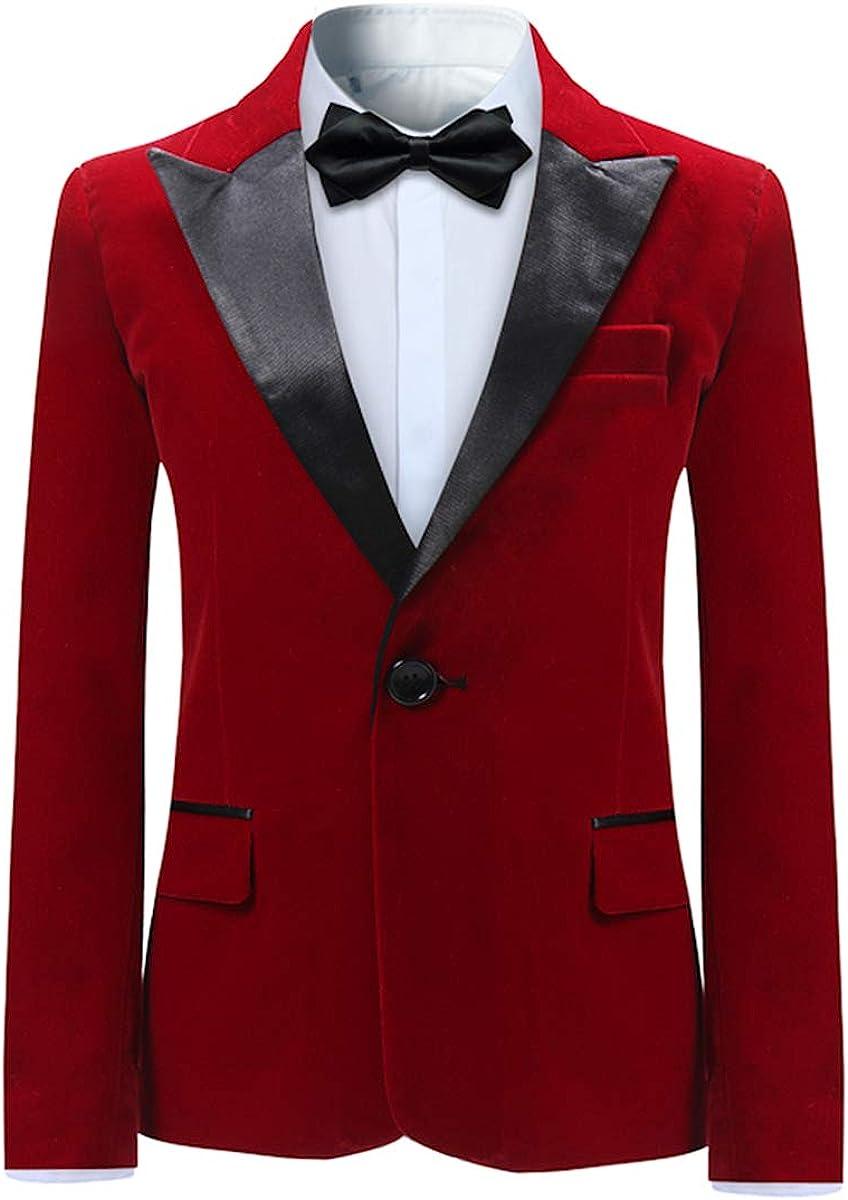 Boyland Boys Tuxedo Suit Velvet Peak Lapl Vintage 2 Pieces Slim Fit Jacket Pants Suit Set Prom Party