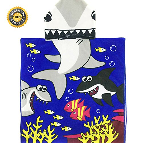 Hooded Shark Beach Towel for Kids Beach and Pool Towels | Cheap Children's Towels for Ages 1 to 6 Years Old| Large Size 48 X 24 Super Absorbent Infant Towels - Cotton Poncho Fleece