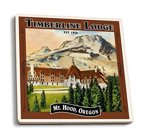 (Lantern Press Timberline Lodge - Mt. Hood, Oregon - Oval Spring Design (Set of 4 Ceramic Coasters - Cork-Backed, Absorbent))