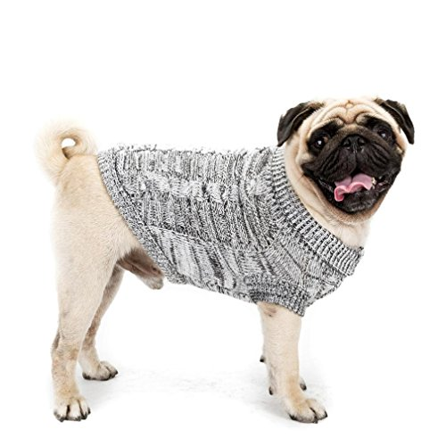 - Pet Costume HCFKJ Warm Fleece Twist Cable Knitted Pull Over, Puppy Pet Dog Cat Clothes Winter Warm Sweater Coat (L, Gray)