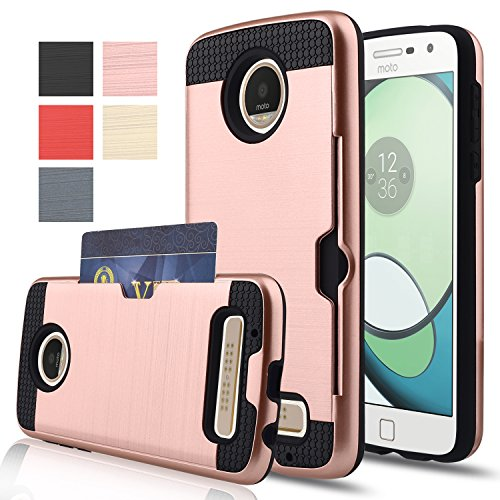 Moto Z Play Case,AnoKe [Credit Card Slots Holder][Not Wallet] Hard Silicone Rubber Hybrid Armor Shockproof Protective Case For Motorola Moto Z Play Droid(2016) KLS Rose Gold