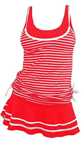 MiYang Women's Tankini Striped Vintage Swim Dress Red Large (Plus Size Tankini With Skirt)