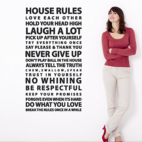 House Rules Sayings Large Wall Decal Easy Application Vinyl Family Art Quote Home Decor Sticker (Black, 48x26 inches)