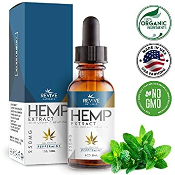 Organic Hemp Oil Extract Pain-Relief - 250MG - Peppermint Flavored, Helps  Reduce Stress & Anxiety,