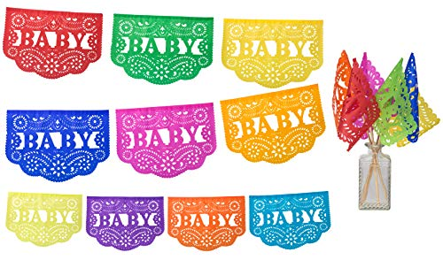 Paper Full of Wishes I Baby Shower Tissue Papel Picado 50ft Long Banner and 6pc Flags Set I 30 Colorful Panels on Each Banner