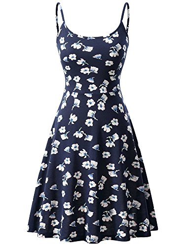KIRA Women's Sleeveless Adjustable Strappy Summer Floral Flared Midi Dress ()