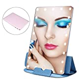 21 PCS LED Lighted Cosmetic Table Mirror, Portable Adjustable Light Smart Touch Settings USB Rechargeable Travel Makeup Lamp Mirrors with Protect Sheath (Rose Gold)