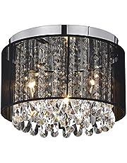 Black Chandeliers Flush Mount Ceiling Lights Crystal Chandelier Lighting 3 Light Fixtures Ceiling for Bedroom