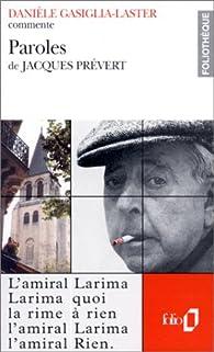 Paroles de Jacques Prévert par Danièle Gasiglia-Laster