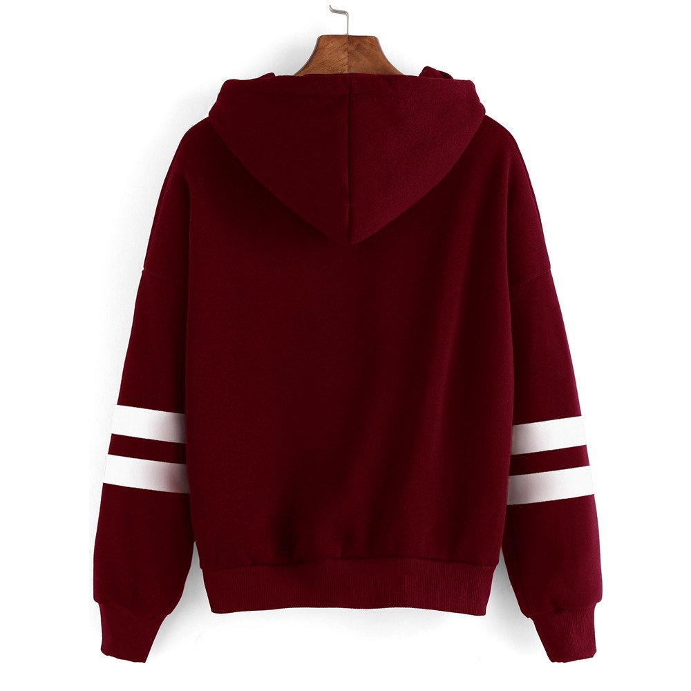 Amazon.com: POCCIOL Blouse,Womens Casual Long Sleeve Striped Hoodie Sweatshirt Jumper Hooded Pullover Tops Blouse: Clothing