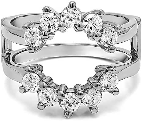 Sterling Silver Sunburst Style Ring Guard with Gorgeous Round Stones with Cubic Zirconia (1 ct. tw.)