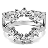 3/4 ct. Charles Colvard Created Moissanite Sunburst Style Ring Guard with Gorgeous Round Stones in 10k White Gold (0.9 ct. twt.)