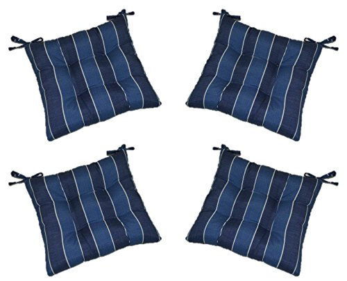 - Set of 4 - Indoor/Outdoor Denim Blue Ivory Stripe Fabric Universal Tufted Seat Cushions with Ties for Dining Patio Chairs - Choose Size (20
