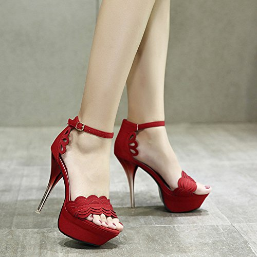 Easemax Womens Sexy Cut Out Ankle Buckle Strap Stitching Peep Toe Platform High Stiletto Heel Sandals Red buiPuU