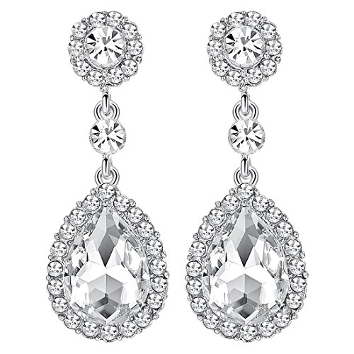 mecresh Flower Teardrop Clear Austrian Crystal Earrings for Women or Bridesmaids - Austrian Crystal Flower
