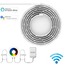 Smart LED Light Strip, DISDIM Multicolor WiFi Wireless RGB Strip Lights Smart Phone Controlled Waterproof IP65 LED Rope Lighting, DIY Kit Easy Install Works with Amazon Alexa and Google Home