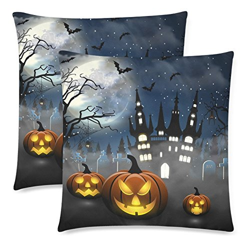 Halloween Throw Pillow (InterestPrint Custom 2 Pack Spooky Tombstones Spider Castle and Bat 18x18 Cushion Pillow Case Cover Twin Sides, Halloween Party with Pumpkin Cotton Zippered Throw Pillow Pillowcase Protector Set)