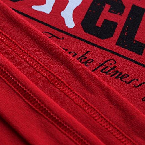 Sans Chemise Pour Athlétique Hommes Alivebody Rouge Manches Courtes C6w4q