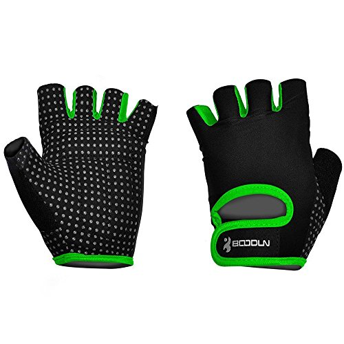 Ezyoutdoor 1 Pair Breathable Bike Half Finger Cycling Gloves Short Mesh Bicycle Biking Riding Fitness Exercise Gym Training Gloves (Green, Medium)