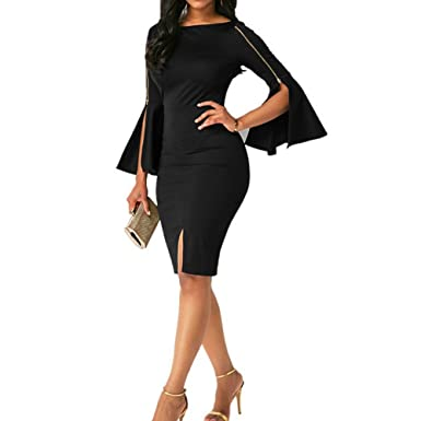 Hotkey® Clearance Women Dresses On Sale Zipper Cocktail Party Evening Bodycon Dress Beach Sundress for