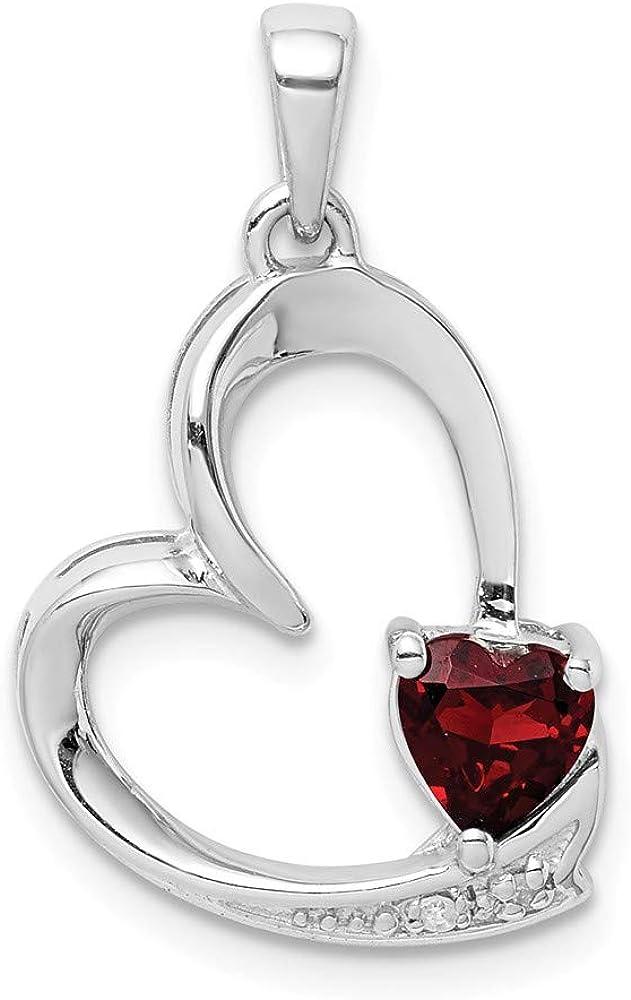 925 Sterling Silver Heart Shaped 0.45 ct Garnet /& 0.01 ctw Diamond Love Heart Pendant