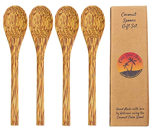 - Coconut Wooden Reusable Spoons | Set of 4 Handmade Wood Spoons | Coconut Bowls Accessories | Eco Friendly | Eating Spoons| Cereal, Smoothie, Dessert Spoons | Vegan Utensils