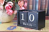 URTop 1Pcs Black/White Creative Perpetual Wooden Calendar Desktop Block DIY Yearly Planner Home Decoration Figurines Miniatures Ornaments Desk Office Stationery