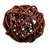 "Custom & Fancy {4"" Inch} Approx 90 Pieces of Large Round Ball ""Table"" Party Confetti Made of Premium Rattan w/ Natural Modern Look Simple Creative Dark Stick Twig Nest Scatter Filler Design [Brown]"