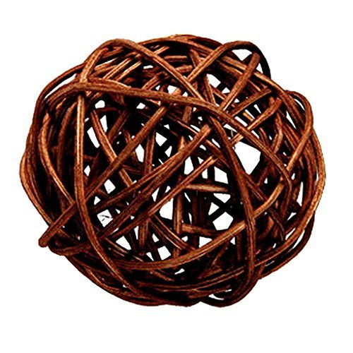 "Custom & Fancy {4"" Inch} Approx 90 Pieces of Large Round Ball ""Table"" Party Confetti Made of Premium Rattan w/ Natural Modern Look Simple Creative Dark Stick Twig Nest Scatter Filler Design [Brown] by mySimple Products"
