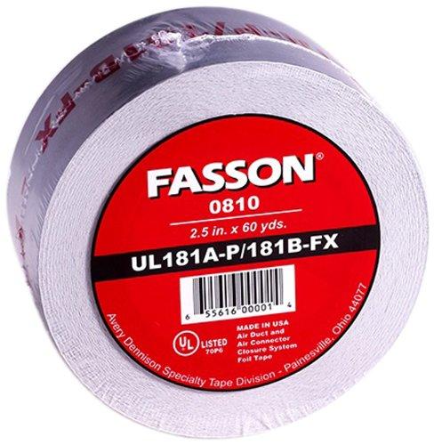 Avery Dennison Fasson 0810 Aluminum Foil HVAC Duct Tape, UL 181A-P/181B-Fx, Silver, 180 ft x 2.5 - Duct Foil Flex