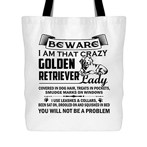 Retriever Tote Bag - Retriever Tote Bag - Crazy Golden Retriever Lady Handbags (White Tote Bag)