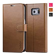 TUCCH Galaxy S6 Edge Case Leather Wallet Case for Samsung Galaxy S6 Edge, Flip Book Case [Lifetime Warranty] with Stand Feature, Card Slots and Money Pocket, Magnetic Folder (Brown)