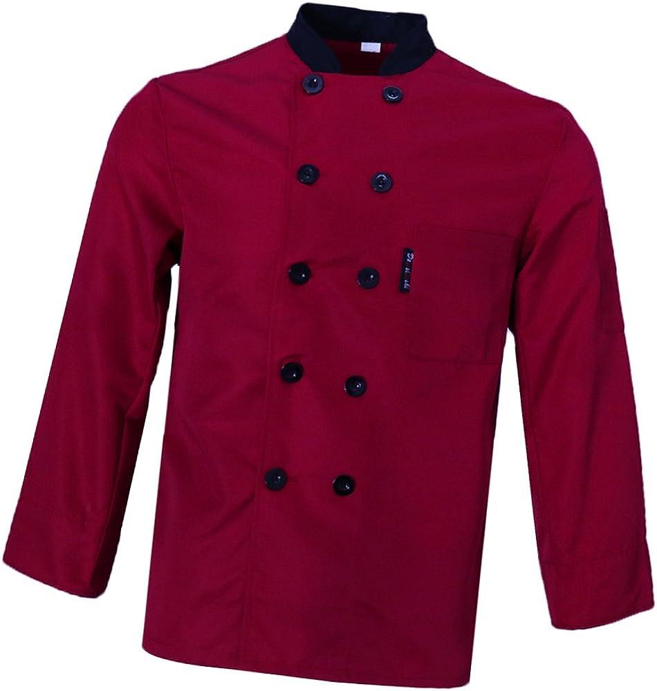 Sharplace Abrigo Camisa de Chef Uniforme Manga Larga Trabajo Profesional Cocina Diseño Simple Conforte - Rojo, M: Amazon.es: Ropa y accesorios