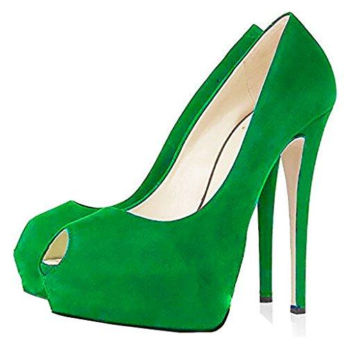 Di Sulla Sposa Grandi Alti Peep Mavirs Delle Scarpe Pompe Da Vestito Partito Scivolare Verdi Sexy Toe Piattaforma Stiletto Talloni Da Donne Dimensioni wzZqg
