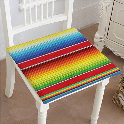 Mikihome Premium Comfort Seat Cushion Horizontal Colored Ethnic Blanket Rug Lines Pattern Bright Decorative Design Multi Cushion for Office Chair Car Seat Cushion 18