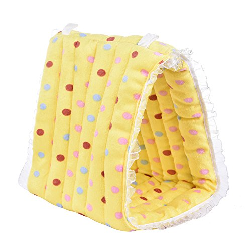 Yunt Pet Hammock Hanging Cave Cage Plush Snuggle Happy Hut Tent Bed Triangle Cotton Tent Nest House for Rabbit Hamster Birds Small Animals Yellow
