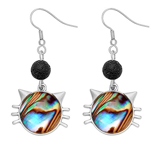 SENFAI Cat Face 8mm Lava-rock Black Dangle Earrings 3 Tone Essential oil diffuser (Silver) (Cat Face Sweet)