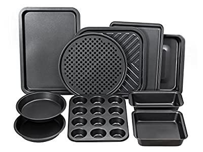 Perlli 10-Piece Non-Stick Bakeware Set, Oven Crisper, Pizza Tray, Roasting, Loaf, Muffin, Square, 2 Round Cake Baking Pans, Large and Medium Nonstick Cookie Sheet Bake Ware for Home Kitchen Use
