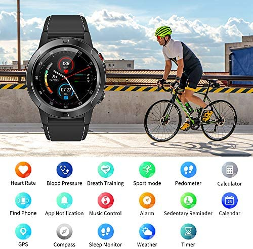 Smart Watch for Android Phones iOS, GPS Smartwatch for Men with Heart Rate and BP Monitor, Pedometer, Text Call Notification, Compass, Barometer, Altitude, Leather and Rubber Bands, Round Face, 2020 51W0GHVbssL