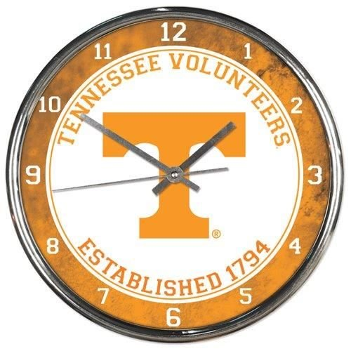 "NCAA Tennessee Volunteers Chrome Clock, 12"" x 12"""